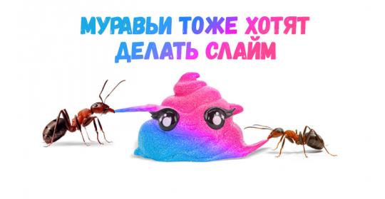 Ого! Смотри, как муравьи отреагируют на слайм